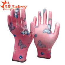 SRSAFETY 4 pairs Pink Gardening PU gloves/Flowers glove,beautiful working gloves,women used glove,PU1350FP-12
