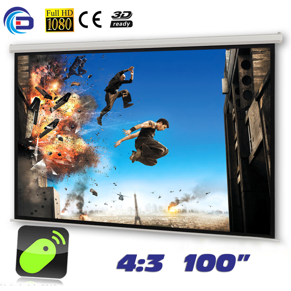 Wholesale 100 4:3 HD Electric Projection Screen with Remote Controller Motorized Projector Screen Pantalla proyector wholesale 100 16 9 hd electric projection screen with remote controller motorized projector pantalla proyector screen