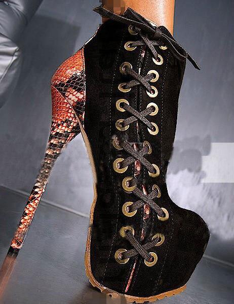 Sexy 6cm plate-forme bottine Zapatos Mujer peau de serpent croix-cravate Super haut talon 16cm noir piste scène chaussures femmes