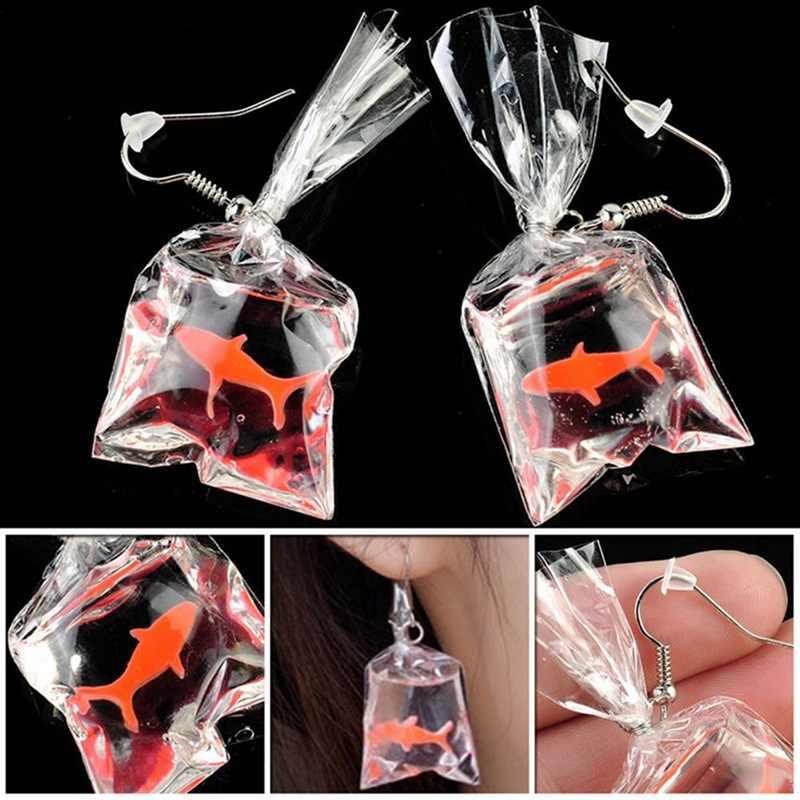 1 para Kawaii Cartoon żywica Goldfish imitacja worek wody kształt Charms kolczyki śmieszne słodkie sakwa na wodę biżuteria DIY Handmade
