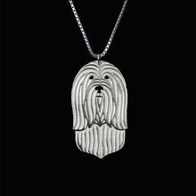 Bearded Collie  – Gold and silver pendant and necklace jewelry Simple abstract animal  free ship 12pcs/lot