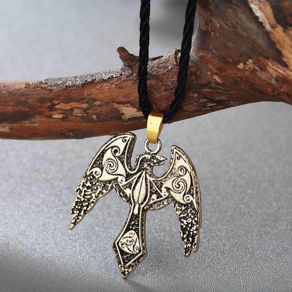 Cxwind Norse Vikings Odin's Ravens Pendant Necklace Raven Triskelion Symbol Charm Animal Bird Necklaces Statement Wing Jewelry