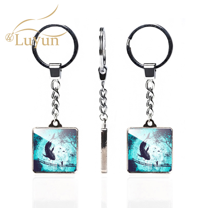 Luyun Landscape Oil Painting Pattern Double Keychain Square Crystal Glass Cute Couple Wholesale