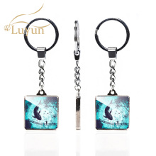 купить Luyun Landscape Oil Painting Pattern Double Keychain Square Crystal Glass Keychain Cute Couple Keychain Wholesale по цене 90.53 рублей