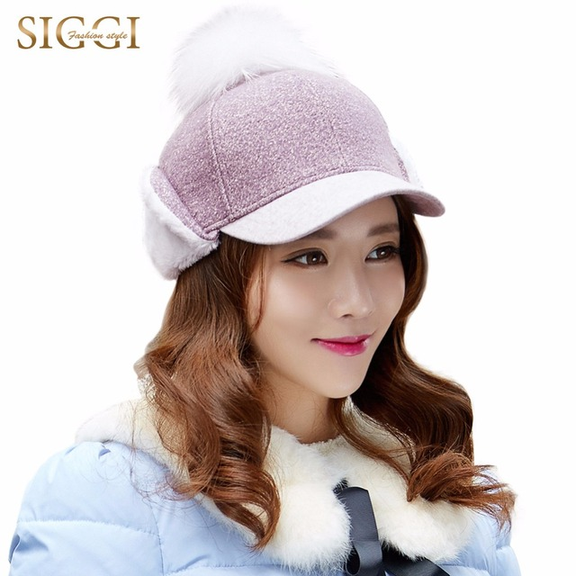 Womens Wool Baseball Cap Earflap Snapback Adjustable Hat Outdoor Hip Hop with pompom