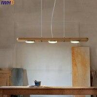 Iwhd 3 головки древесины современный подвесной светильник модные led подвесные светильники Спальня hanglamp дома Освещение подвесной светильник