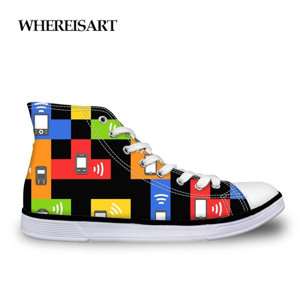 WHEREISART Men 39 s High Top Canvas Russian Classic Game Tetris Print Student Shoes Vulcanized Shoes Men 39 s Fashion Zapatos de Hombr in Men 39 s Vulcanize Shoes from Shoes