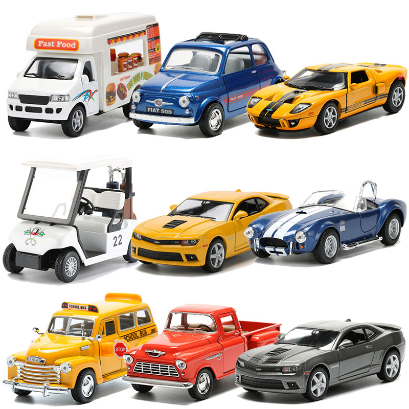 Alloy Model Toy Car School Bus Pickup Truck Fast Food Truck Golf Cart Camaro Cars Toys For Boys Christmas Gift