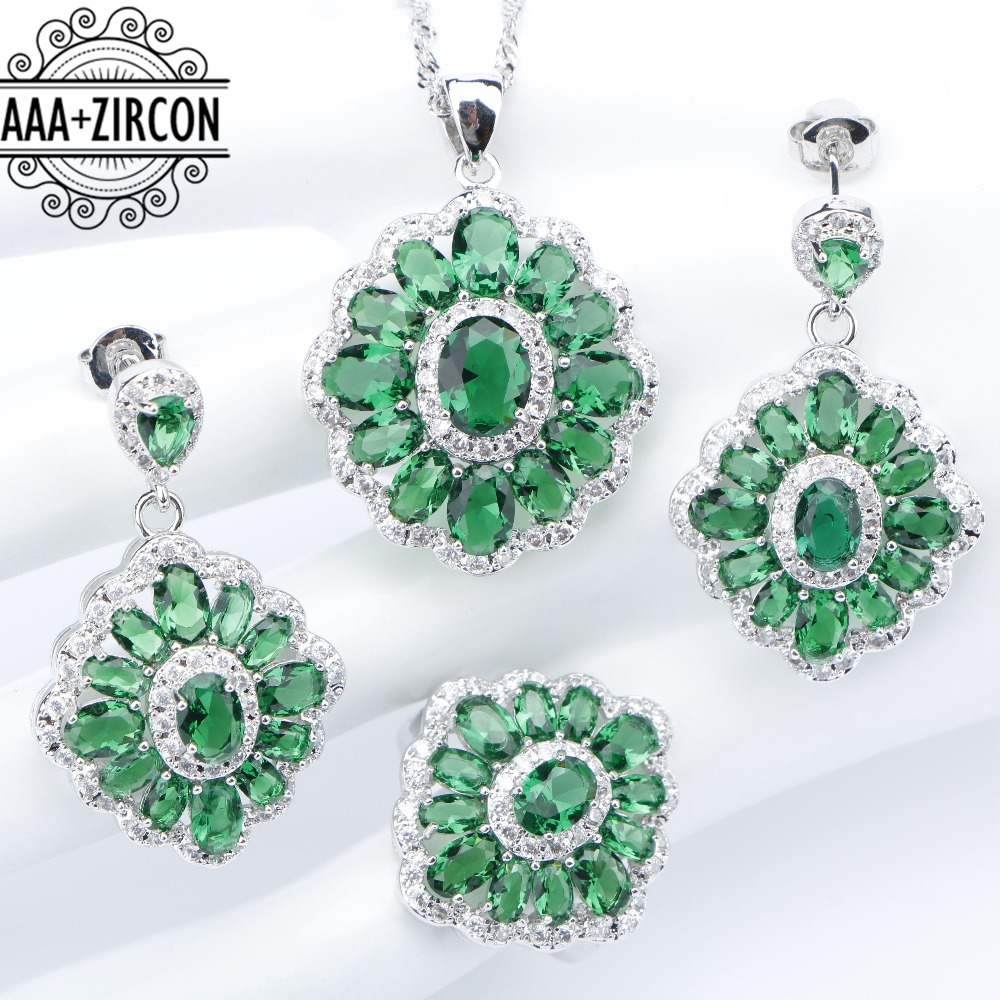 Bridal Green Zircon 925 Silver Women Jewelry Sets Rings Necklaces Pendants Stud Earrings With Stones Set of Jewelery Gift Box