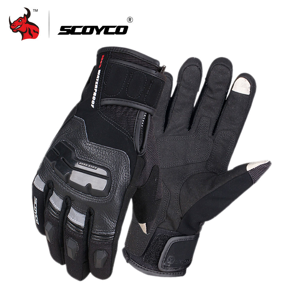 SCOYCO Motorcycle Gloves Genuine Cow Leather Moto Gloves Touch Screen Waterproof Motocross Gloves Winter Motorbike Riding Gloves цена