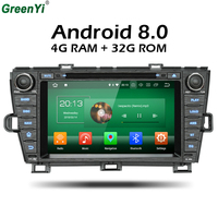 GreenYi Android 8.0 8 Core 4G RAM Car DVD GPS For Toyota Prius 2009 2010 2011 2012 2013 WIFI Autoradio Multimedia Stereo