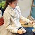 Baby Girl Autumn Winter Sets 2016 New Children's Leisure Suits Knitting Sweater Princess Cotton Dress With Floral scarf