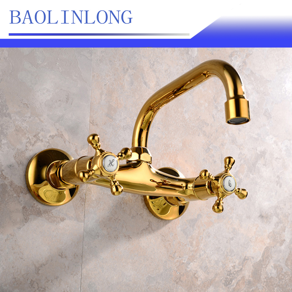 BAOLINLONG News Style Wall Brass Mounted Bathroom Faucets Chrome Spout Vanity Sink Mixer Basin Faucet Tap