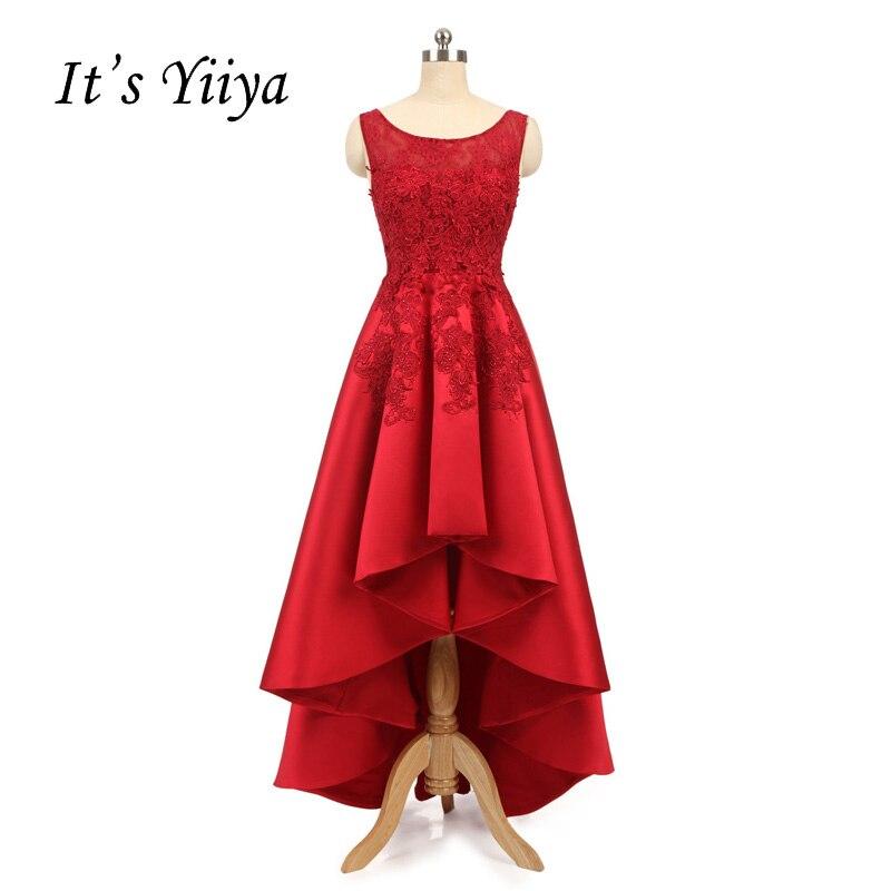 It's YiiYa New O-neck Lace Illusion High-low Taffeta Floor Length Bride   Dress   Zipper   Prom     Dress   Party Wedding Guest   Dresses   2503