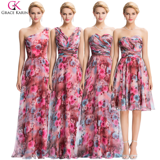 Grace Karin Evening Dresses 4 Style Floral Chiffon Elegant Formal ...