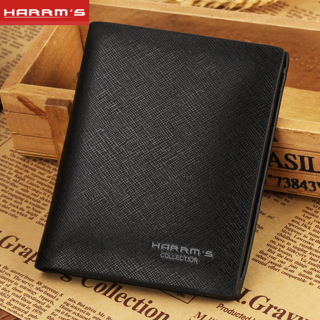 Harrms Caliente 2017 Nueva marca de Diseño de negocios de cuero negro Hombres moda titular de la tarjeta monederos corto purse carteira masculina
