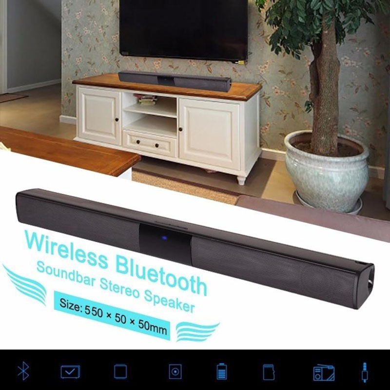 Home Design Wireless Bluetooth Soundbar Stereo Lautsprecher TV Heimkino TF USB Sound Bar (Schwarz)