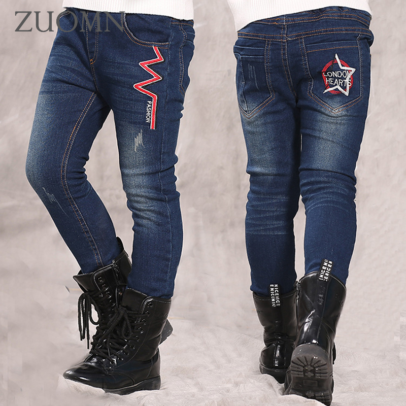 2016 Boy Winter Kids Jeans For Boys Cowboy Denim Navy Blue Cashmere Pants Boys Trousers Child Warm Soft Thicken New Years GH246 jeans men 2016 plus size blue denim skinny jeans men stretch jeans famous brand trousers loose feet pants long jeans for men p10