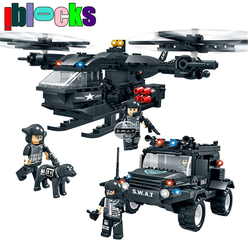ФОТО IBLOCKS Swat Armed Helicopter Wrangler Military Building Blocks Set City Special Police Figure Enlighten Brick Toys For Children