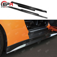 For Nissan R35 GTR Coupe ZELE Style Carbon Fiber Side Skirt Glossy Finish GT R ZE Door Step Cover Racing Body Kit Accessories