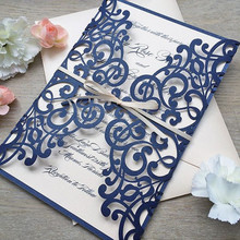 Elegant wedding invitation card with envelop navy blue laser cutting invites 50pcs/lot