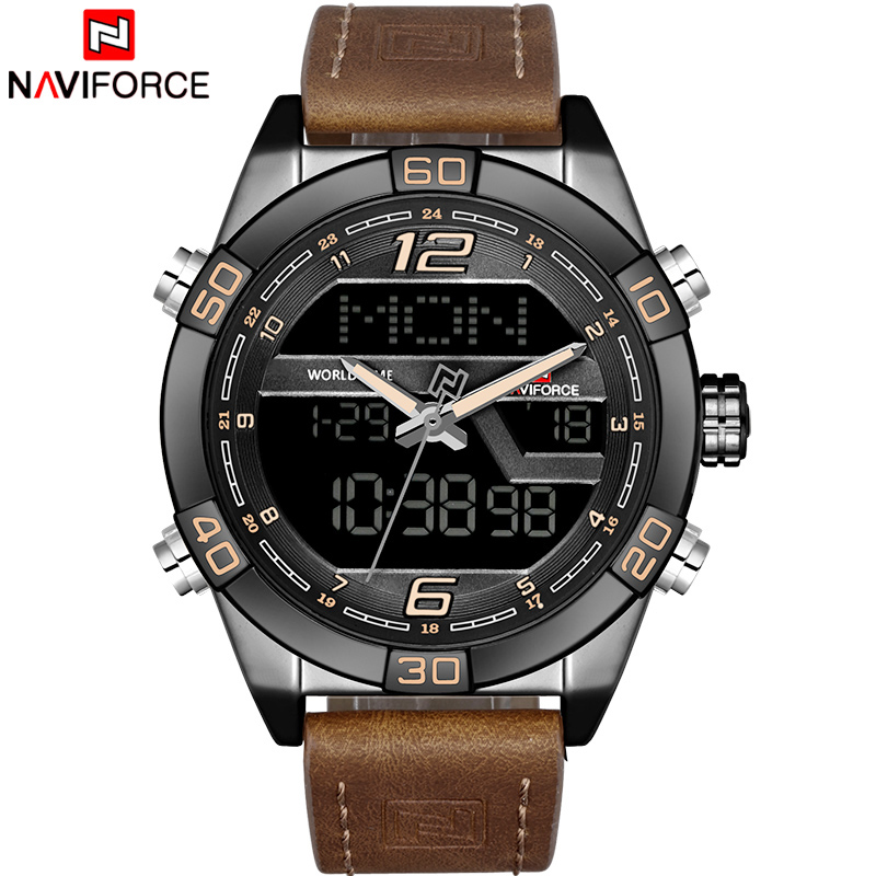 NAVIFORCE Luxury Brand Men Army Leather Quartz Watches Mens Casual Military Sport Wrist Watch Male LED Date Analog Digital Clock naviforce luxury brand men sport leather watches men s quartz digital led clock male army military wrist watch relogio masculino