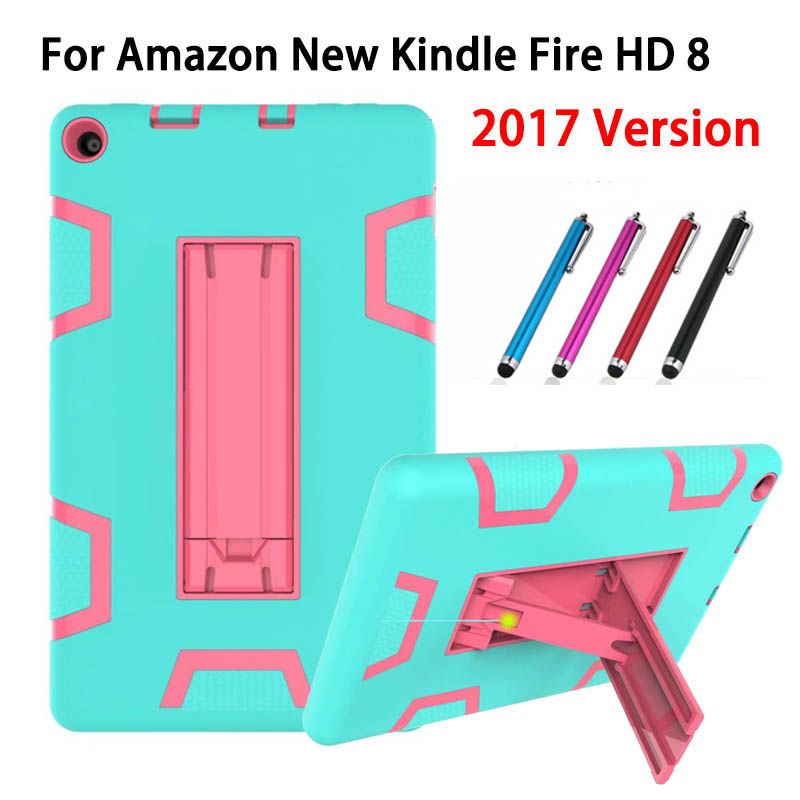 For Amazon New Kindle Fire HD 8 2017 Version Case 8 Kids Safe Armor Shockproof Heavy Duty Silicone PC Tablet Stand Case Cover