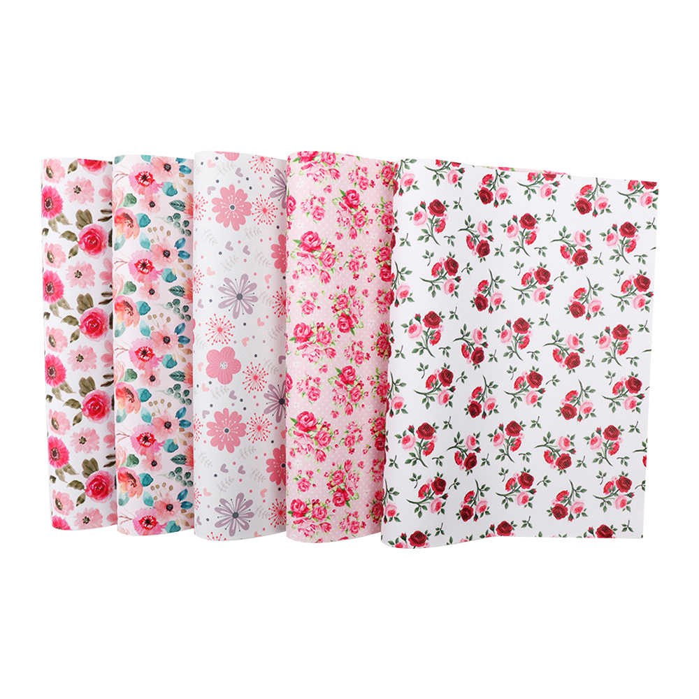 Printed Leather Sheet Fabric Sheet Bag Making Faux Leather Bow Making Pink Flamingo Float Synthetic Leather Printed Vinyl