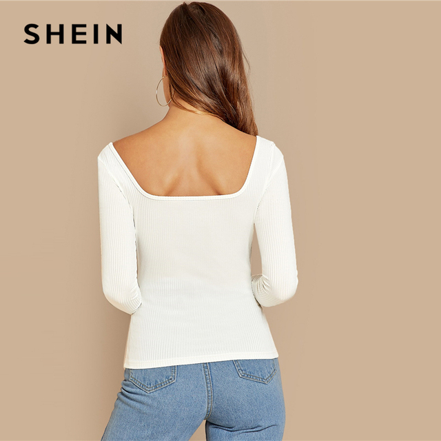 SHEIN White Office Lady Button Front Ribbed Knit  Deep V Neck Pullovers Tee Autumn Modern Lady Workwear Women Tshirt Top 1