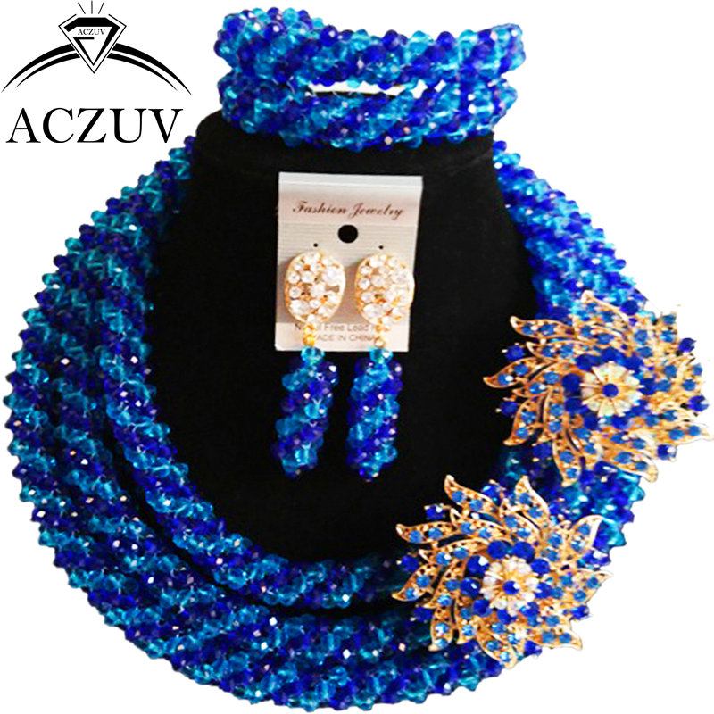ACZUV Lake Blue and Royal Blue Crystal Dubai Jewelry Set African Wedding Beads Necklace and Earrings Bracelet Sets A3R012 viennois new blue crystal fashion rhinestone pendant earrings ring bracelet and long necklace sets for women jewelry sets