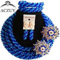 ACZUV See Blau und Königsblau Kristall Dubai Schmuck-Set Afrikanische Perlen Halskette und Ohrringe Armband Sets A3R012