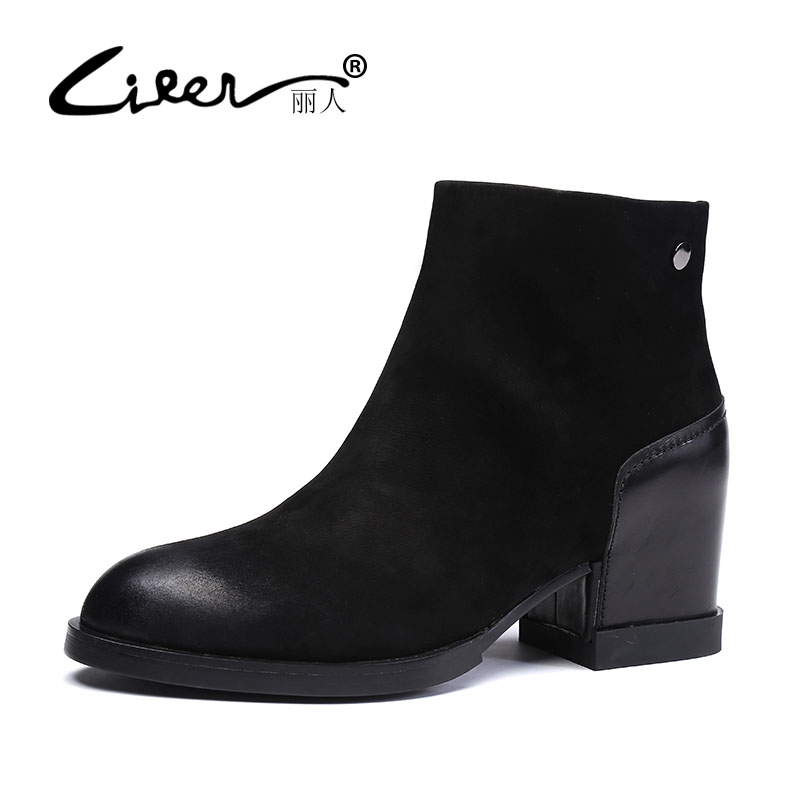 LIREN Autumn Winter Snow Boots Square High Heels Shoes Casual Martin Boots Women Fashion Zipper Genuine Leather Ankle Boots