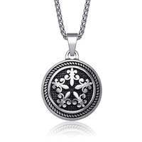 JC Brand Luxury Men Jewelry Maxi Necklace Boho Collier Femme Vintage Titanium Steel Round Cross Pendants