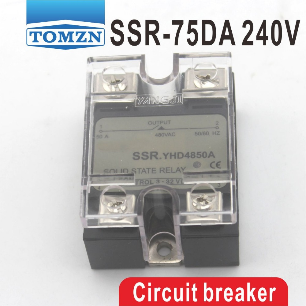 75DA SSR Control 3-32V DC output 12~240VAC single phase AC solid state relay normally open single phase solid state relay ssr mgr 1 d48120 120a control dc ac 24 480v
