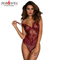 SEBOWEL Sheer Mesh Lace Cupped Bodysuit Woman Burgundy/Black/White Sleeveless Hollow Out Underwired Cups Bodysuits Sexy Body Top