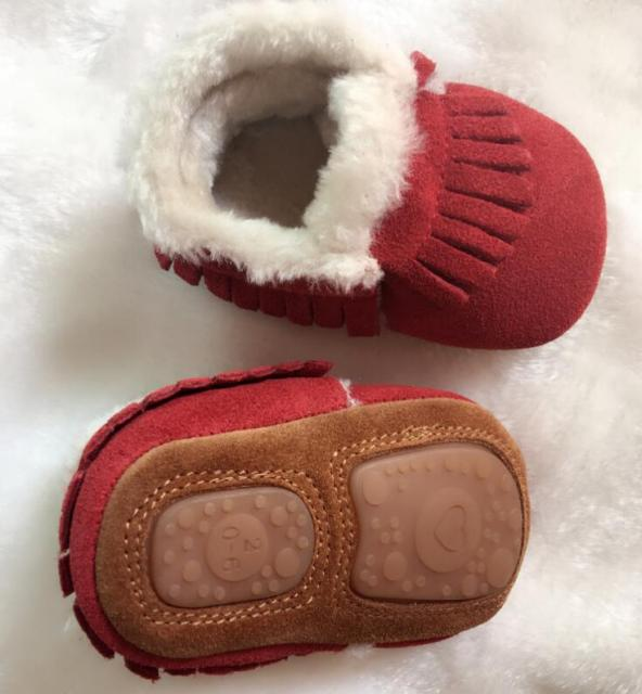 New hot sale In Winter with fur Genuine Suede Leather Baby Newborn boots handmade Toddler hard sole first walkers baby Shoes