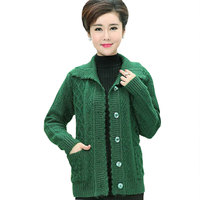 Middle Age Plus Size Winter Women Wool Sweater Cardigan Coat 2017 Mother Clothes Thicker Christmas Sweater