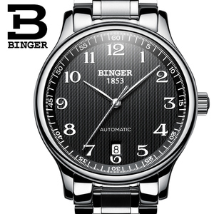 Image 3 - New BINGER Brand Luxury Automatic Mechanical Men Watch Sapphire Watches Male Military Relogio Waterproof Mens Watches BG 0379 2