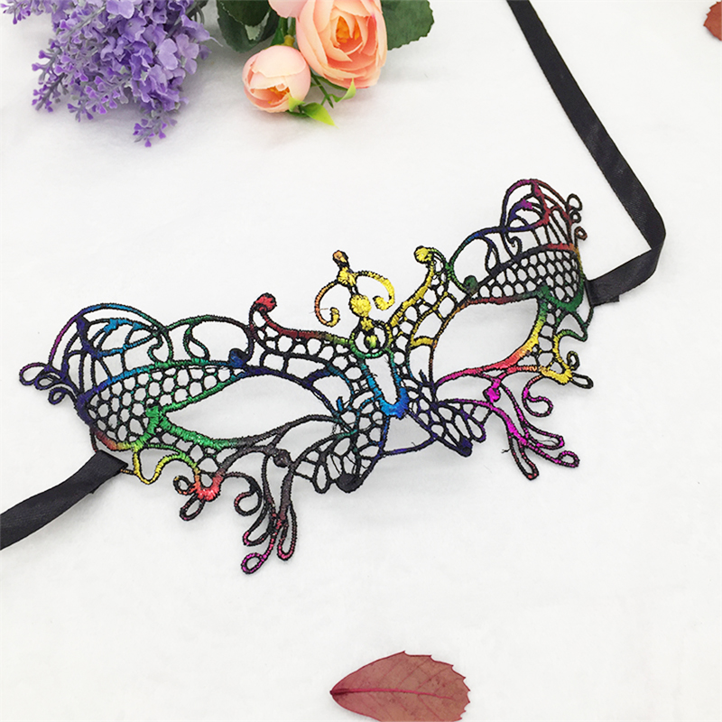 1 Pcs Little butterfly Halloween half  face Colorful lace mask Christmas party ball mask Carnival supplies