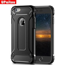 Upaitou Rugged Dual Layer Armor Case untuk Iphone 6 6 S 7 Plus X XS Max XR 5 5S SE Case Heavy Duty Shockproof Hard PC + TPU Cover(China)