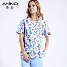 White Lovely Nursing Uniform Unisex WomenMen Pakaian Perubatan Bernaip Pemadanan Uniform Semula Jadi Hospital Scrub Gigi Set