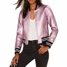 Stand Collar Short Jacket Metal Leather Shinny Color Outwear Street Style Bomber Jackets Women Jacket Basic