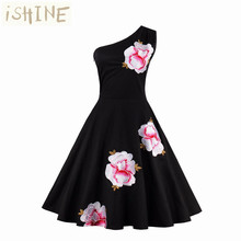 Women's Sexy One – Shoulder Embroidery Elegant Vintage Retro Ruched Bodycon Evening Party Dress Size S – XXXXL
