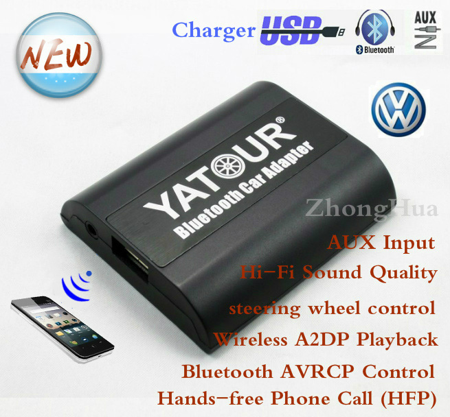 Yatour YT-BTA Bluetooth Hands-free Phone Call for VW Audi Skoda Seat Car audio music mp3 player AUX Quadlock A2DP music adapter biurlink wireless bluetooth module aux in audio mp3 music adapter 12pin connector for vw for skoda