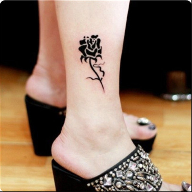 Hot sale waterproof black rose tattoo body art temporary for Black temporary tattoo