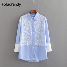 Striped Casual Lace Shirts Women Long Sleeve Blouse Shirt Plus Size 3XL 4XL Pink Blue KKFY2511