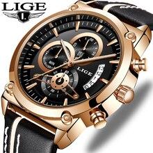 LIGE Mens Watches Top Luxury Brand Waterproof Sport Wristwatch Chronograph Quartz Military Leather Watch Men Relogio Masculino все цены