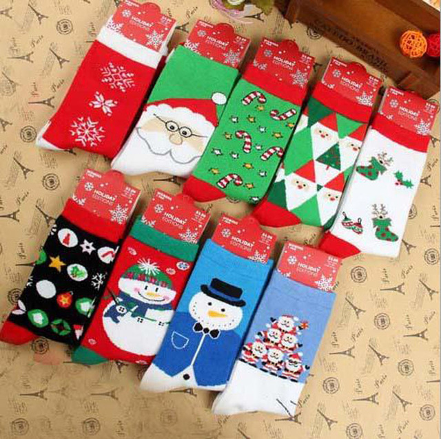 1lot6pairs12pcs brand happy socks cute couple christmas elk snow santa