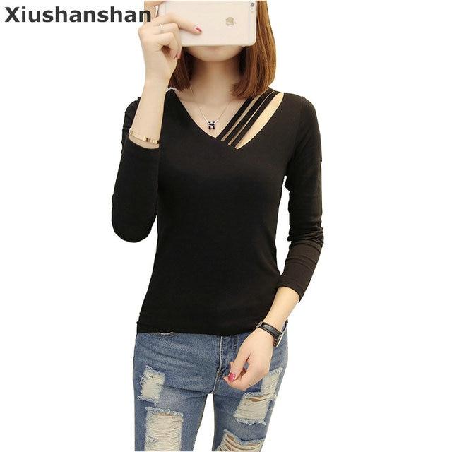 f6ea56beacda0 Xiushanshan 2 Piece Lot V Neck Long Sleeve Shirt Women Autumn Plain Black  Cotton T Shirts 3 Colors Organic Cotton Blank 234