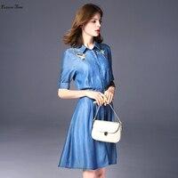2017 Autumn Women Dress Plus Size 3xl Dress Jeans Embroidery Vestido De Festa Washed Blue Denim
